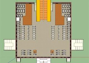 某图书馆室内设计SU(草图大师)模型