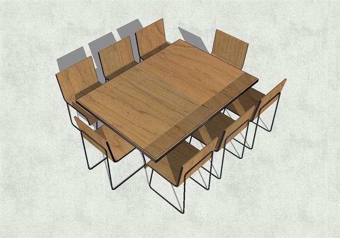 现代长方形桌子座椅su模型[原创]