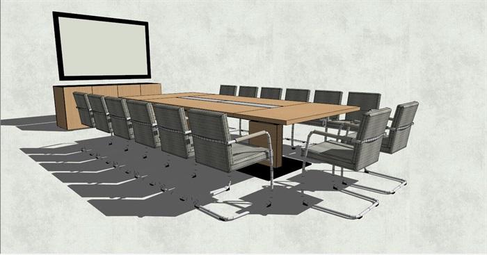 精品长方形会议室办公桌椅su模型[原创]