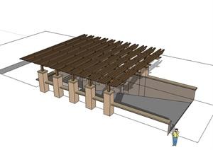 现代车库入口详细的廊架设计SU(草图大师)模型