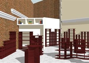详细现代图书馆室内SU(草图大师)模型