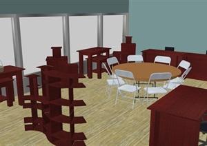 某现代书吧室内设计SU(草图大师)模型