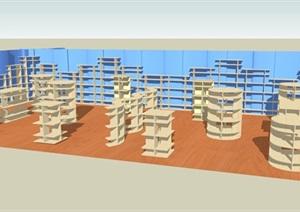 现代图书馆室内SU(草图大师)模型