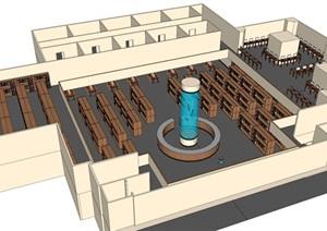 室内图书馆设计SU(草图大师)模型