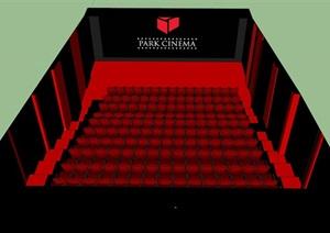 现代详细的电影空间设计SU(草图大师)模型