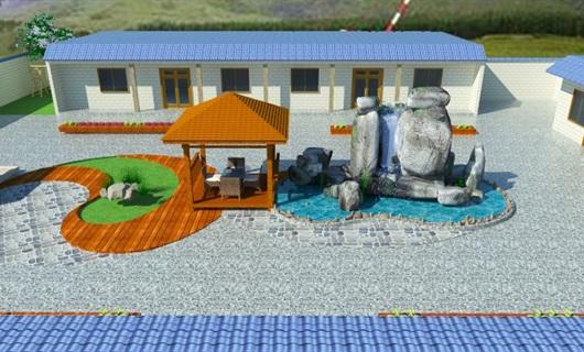 农家小院室内外设计cad平面图、效果图及SU模型