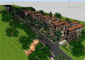 某欧式别墅小区建筑设计SU(草图大师)模型含部分景观-别墅住宅建