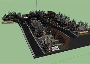 某欧式详细的小区住宅楼SU(草图大师)模型-设计素材下载