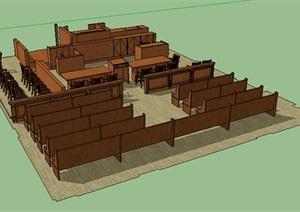 木质桌椅组合设计SU(草图大师)模型