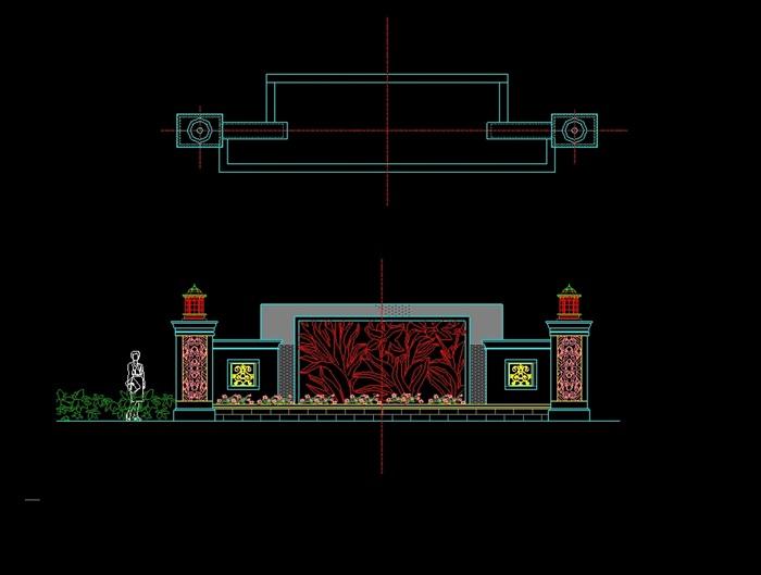 代特色景墙设计cad施工图