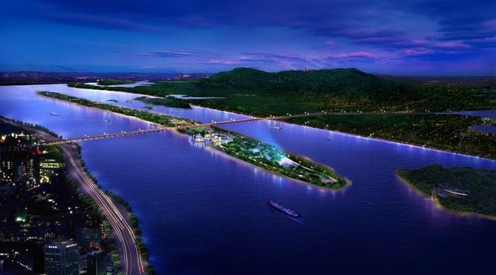 河流两岸夜景景观设计psd鸟瞰图,可直接下载用于相关滨水景观素材设计
