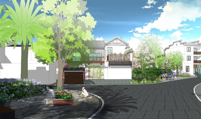 中式乡村小区景观设计su模型[原创]