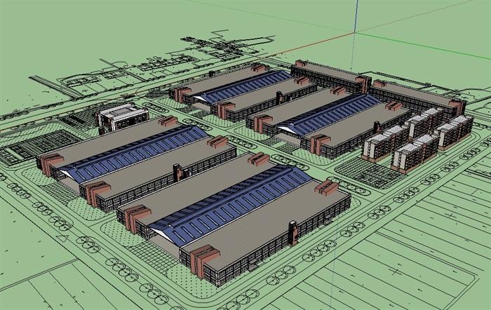 厂房工业建筑楼设计su模型[原创]