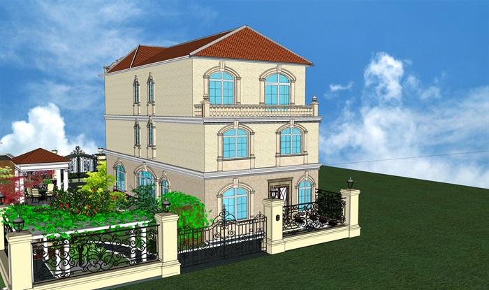 欧式私人别墅庭院设计su模型[原创]