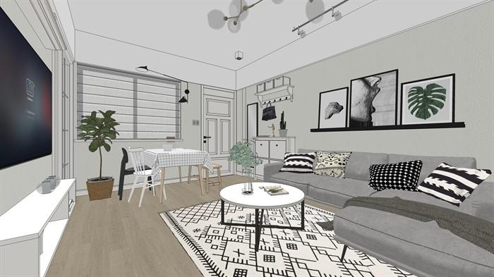 超经典北欧风格室内装修设计su模型[原创]