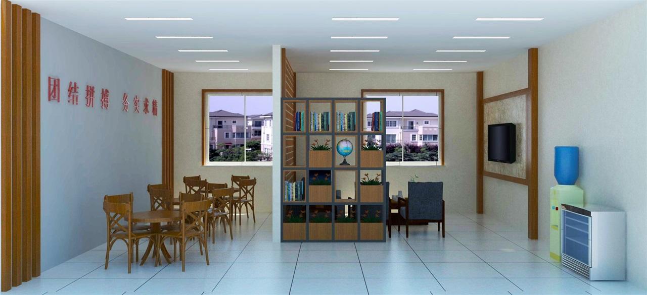 员工休息室设计su模型含效果