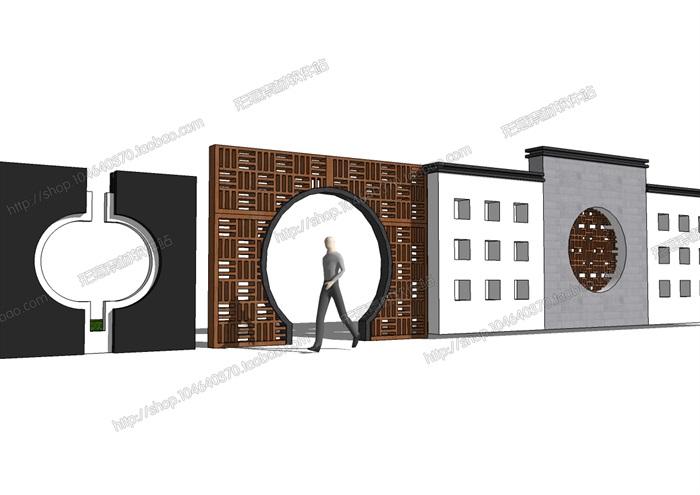 多款中式风格景墙素材su模型[原创]