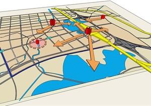 某城市景观视线分析SU(草图大师)模型