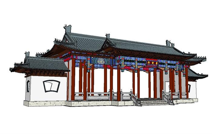 中式古建大门及家具素材设计su模型