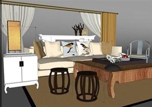 中式风格客厅沙发茶几家具组合SU(草图大师)模型