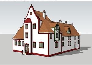 欧式独特造型别墅建筑SU(草图大师)模型-别墅住宅建筑项目