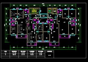一梯四户住宅cad户型图-设计素材下载