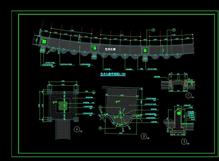 艺术长廊cad施工平面图