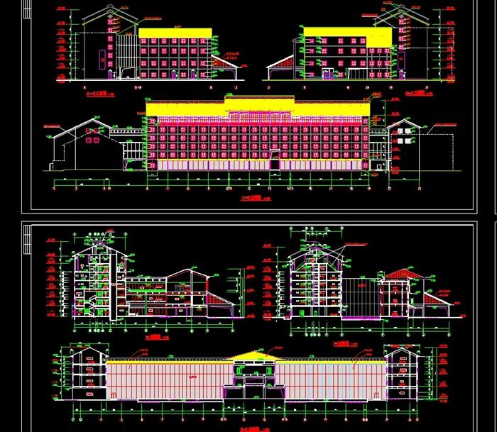 四层古建筑宾馆设计cad施工图[原创]