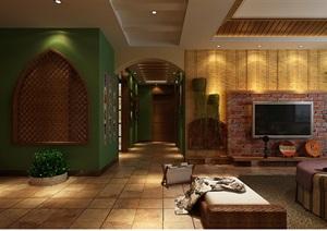 某田园风格住宅室内详细设计3d模型及效果图