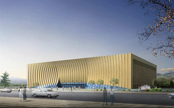 博物馆展览馆文化中心建筑方案设计(含CAD平立剖效果图)(2)