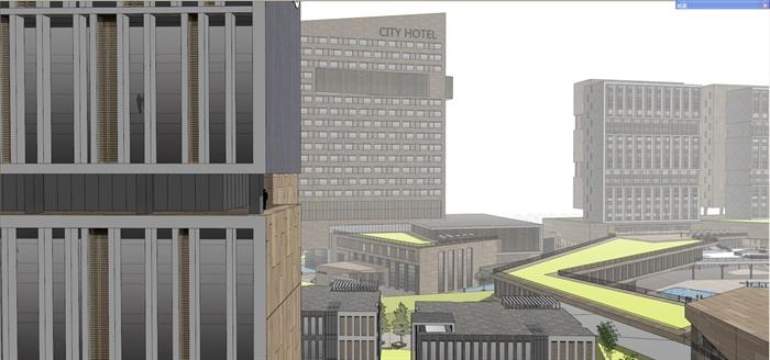 商业办公楼综合体建筑su模型