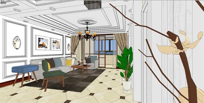 现代住宅详细室内空间设计su模型[原创]