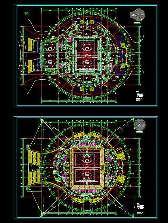 体育馆游泳馆文化活动中心建筑cad施工图