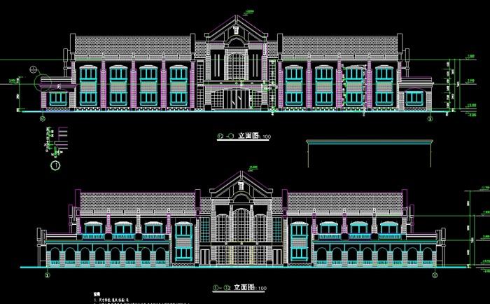 欧式二层欧式宾馆建筑设计cad方案图[原创]图片
