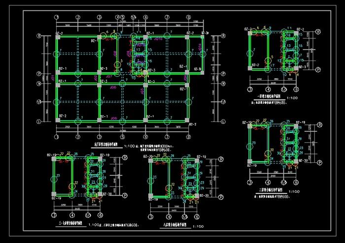 3层框架剪力墙结构宾馆结构设计cad方案图[原创]
