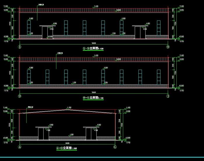 一套双跨厂房建筑,结构,水电cad全套图纸[原创]