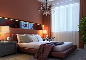 现代详细卧室空间装饰3d模型