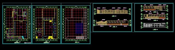 学校食堂餐厅建筑cad方案设计(平立剖效果图)