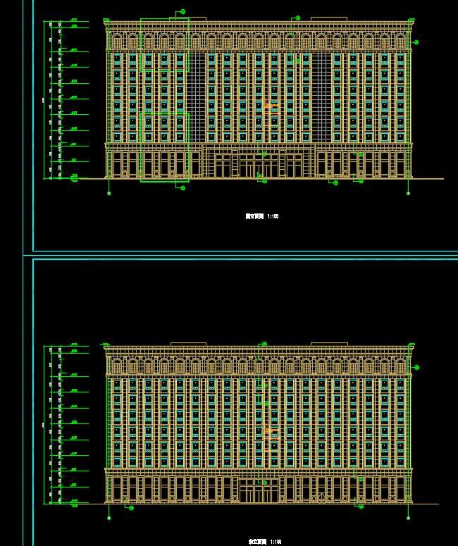 九层行政楼办公楼建筑cad方案设计(平立剖、效果图)