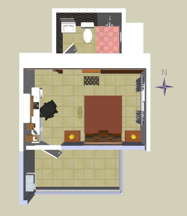 中式风格卧室及卫生间设计su模型
