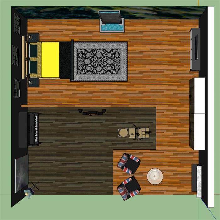 美式风格酒店客房室内装修su模型