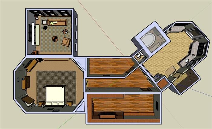某中式复式住宅家装设计su模型