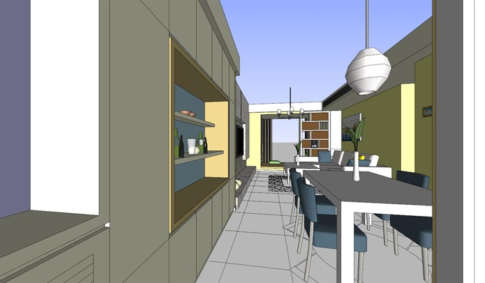 简约现代家装客餐厅设计su模型