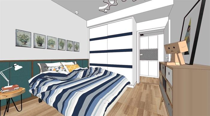 现代简约三室两厅家装设计su细致模型