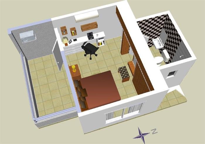 中式风格卧室及卫生间设计su模型(3)