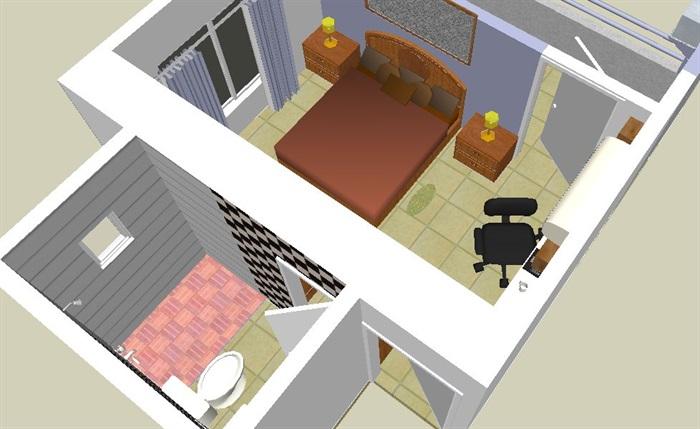中式风格卧室及卫生间设计su模型(4)