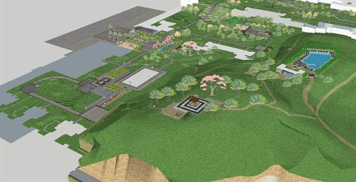 新中式小区庭院花园景观方案su模型[原创]