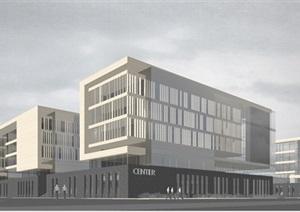 现代中法科技产业园SU模型建筑