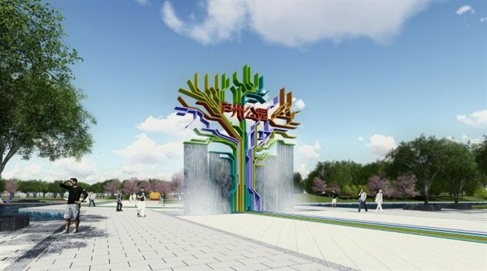 新中式风格公园主次入口景观方案su模型[原创]