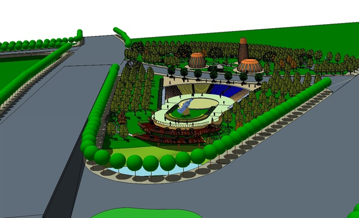 现代啤酒主题广场su景观方案模型[原创]